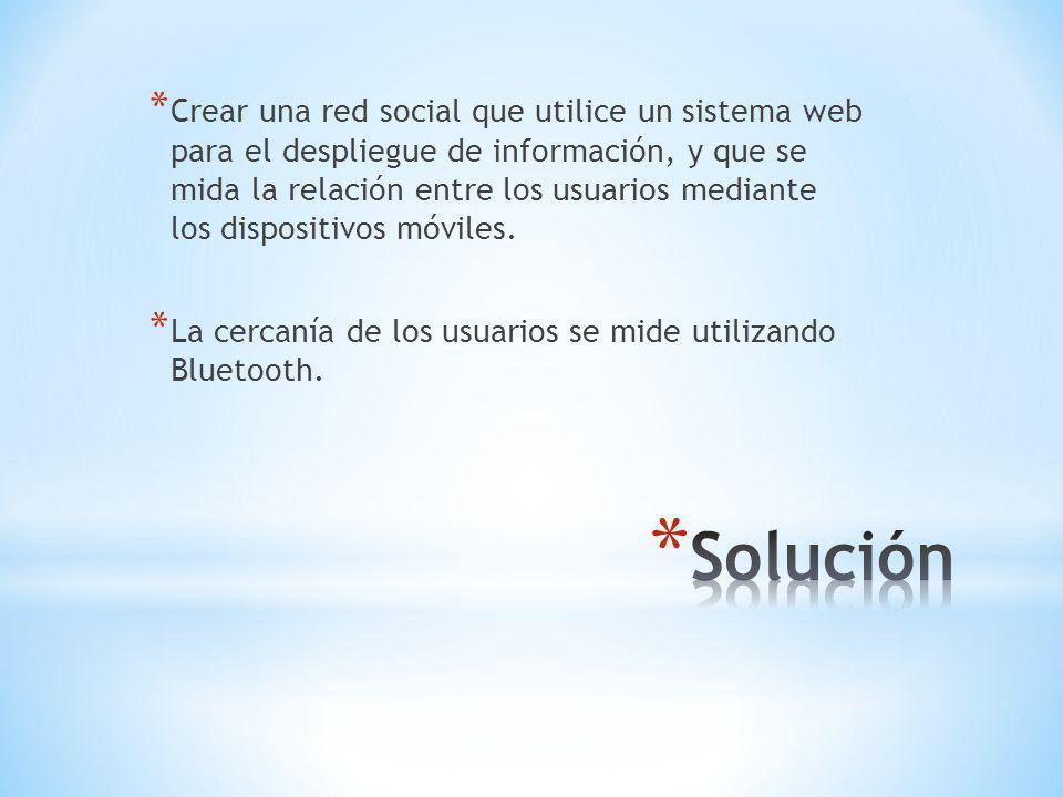 * Crear una red social que utilice un sistema web para el despliegue de información, y que se mida la relación entre los usuarios mediante los dispositivos móviles.
