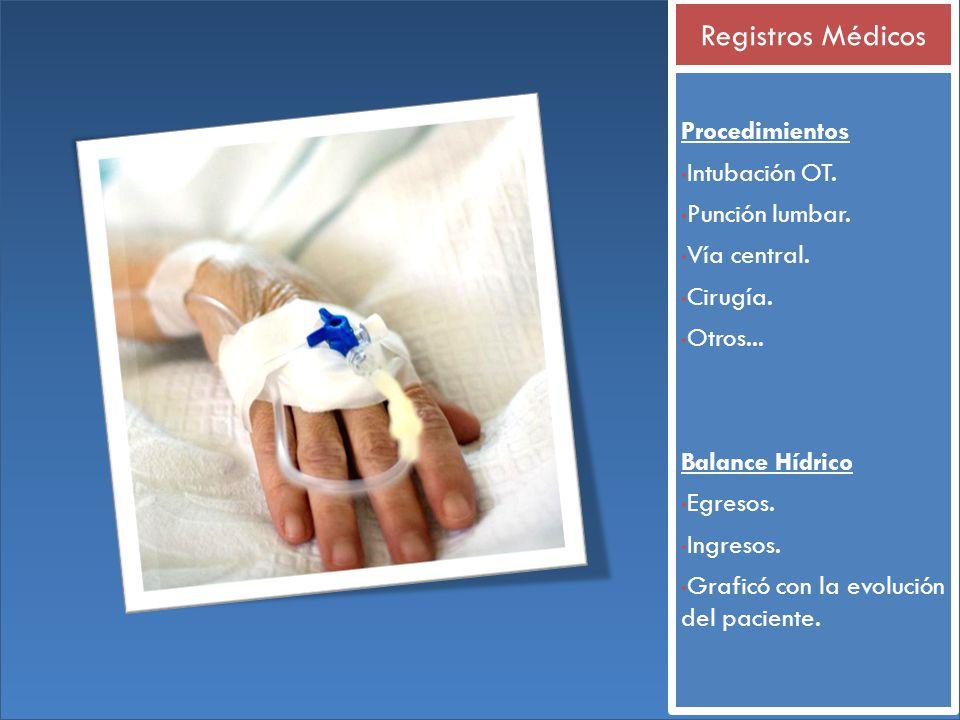 Procedimientos Intubación OT. Punción lumbar. Vía central. Cirugía. Otros... Balance Hídrico Egresos. Ingresos. Graficó con la evolución del paciente.