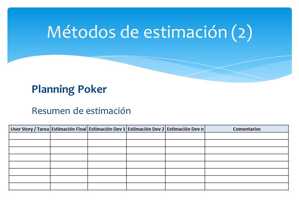 Planning Poker Resumen de estimación Métodos de estimación (2)