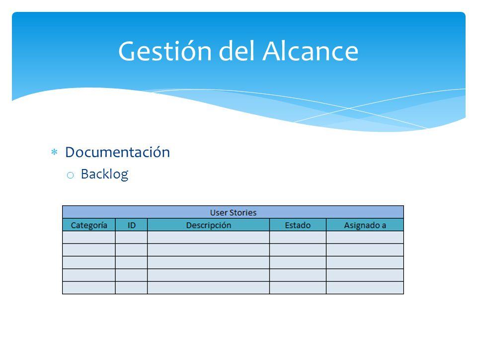 Documentación o Backlog Gestión del Alcance