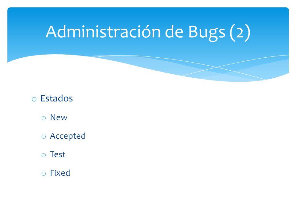 o Estados o New o Accepted o Test o Fixed Administración de Bugs (2)