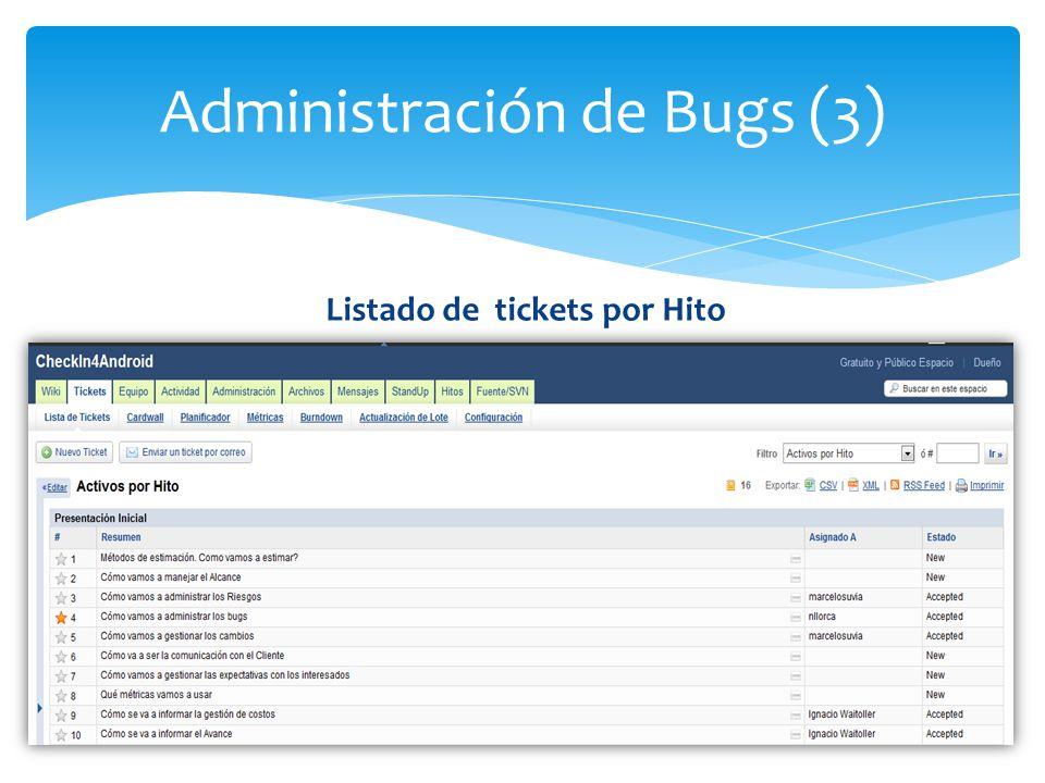 Administración de Bugs (3) Listado de tickets por Hito