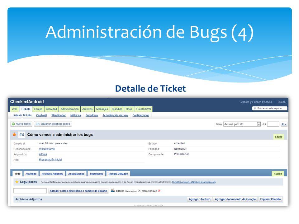 Administración de Bugs (4) Detalle de Ticket