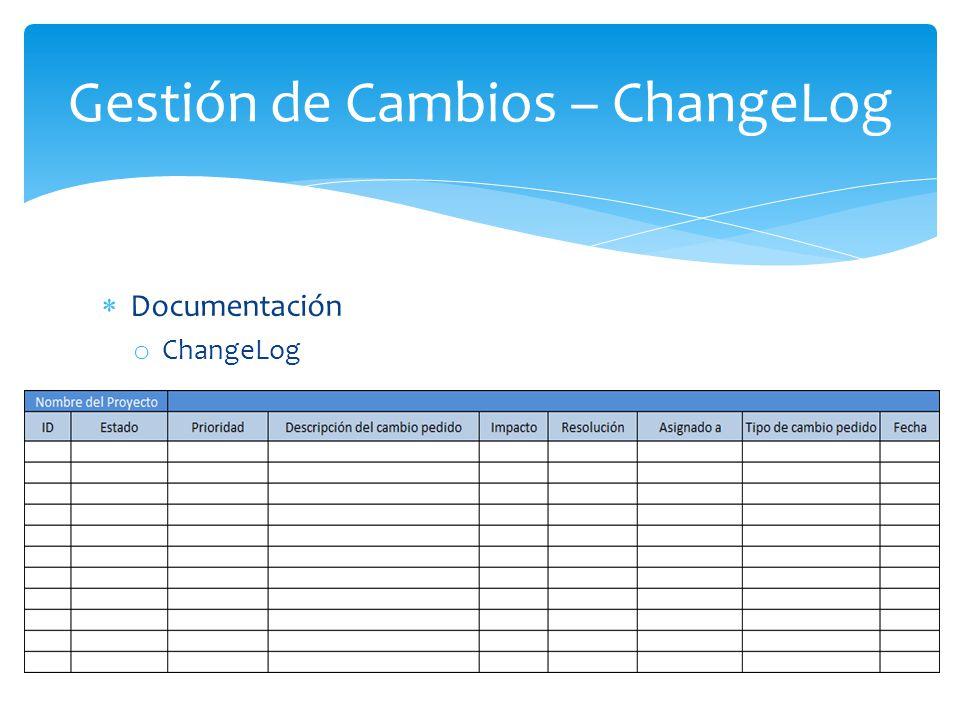 Documentación o ChangeLog Gestión de Cambios – ChangeLog