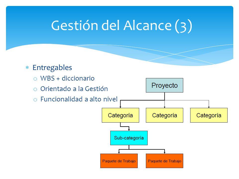 Entregables o WBS + diccionario o Orientado a la Gestión o Funcionalidad a alto nivel Gestión del Alcance (3)