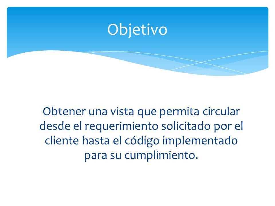 Obtener una vista que permita circular desde el requerimiento solicitado por el cliente hasta el código implementado para su cumplimiento. Objetivo
