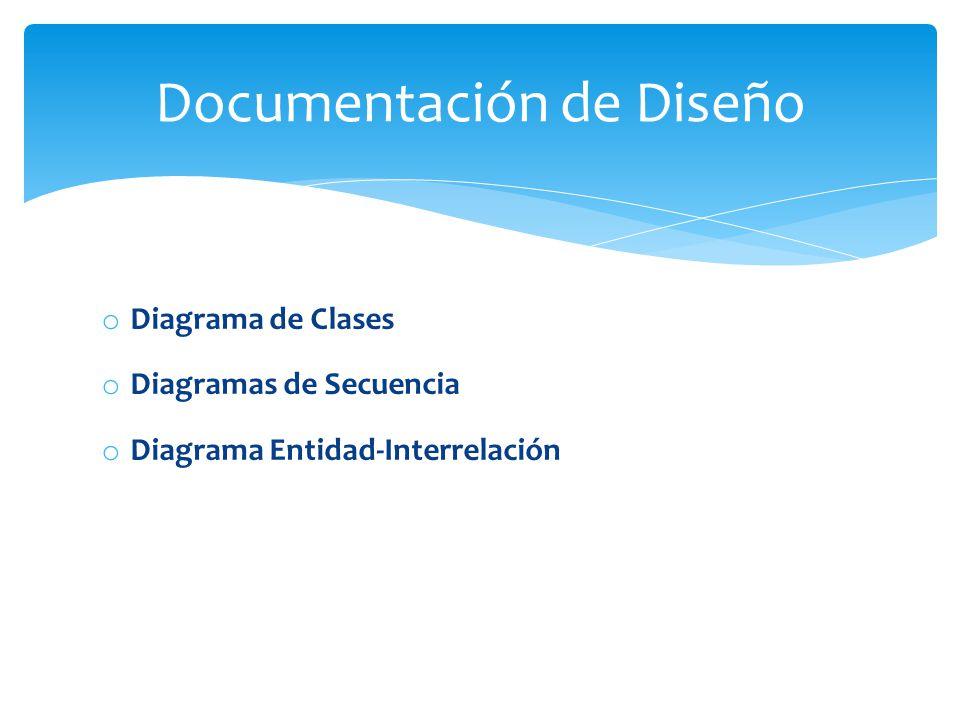 o Diagrama de Clases o Diagramas de Secuencia o Diagrama Entidad-Interrelación Documentación de Diseño