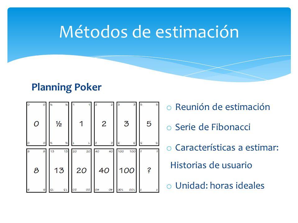 Planning Poker Métodos de estimación o Reunión de estimación o Serie de Fibonacci o Características a estimar: Historias de usuario o Unidad: horas ideales