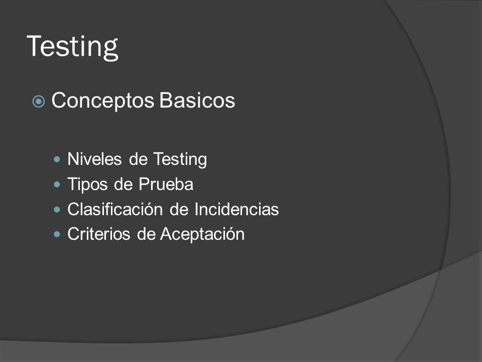 Testing Conceptos Basicos Niveles de Testing Tipos de Prueba Clasificación de Incidencias Criterios de Aceptación