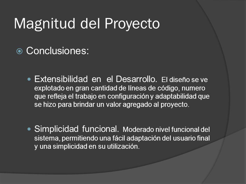 Magnitud del Proyecto Conclusiones: Extensibilidad en el Desarrollo.