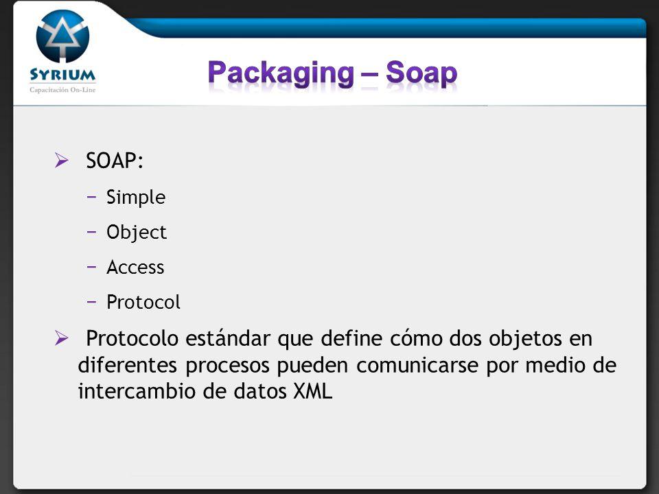 SOAP: Simple Object Access Protocol Protocolo estándar que define cómo dos objetos en diferentes procesos pueden comunicarse por medio de intercambio