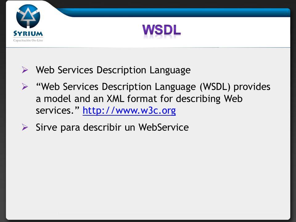 Web Services Description Language Web Services Description Language (WSDL) provides a model and an XML format for describing Web services. http://www.