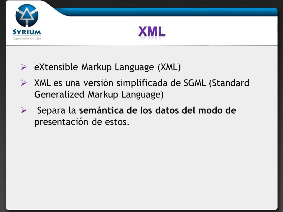 eXtensible Markup Language (XML) XML es una versión simplificada de SGML (Standard Generalized Markup Language) Separa la semántica de los datos del m