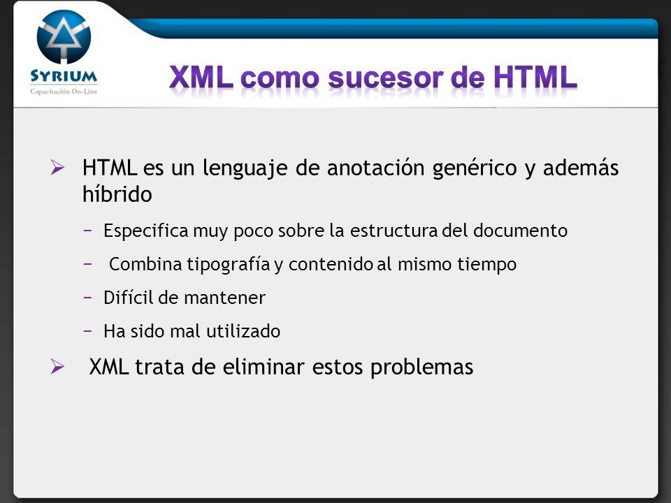 HTML es un lenguaje de anotación genérico y además híbrido Especifica muy poco sobre la estructura del documento Combina tipografía y contenido al mis