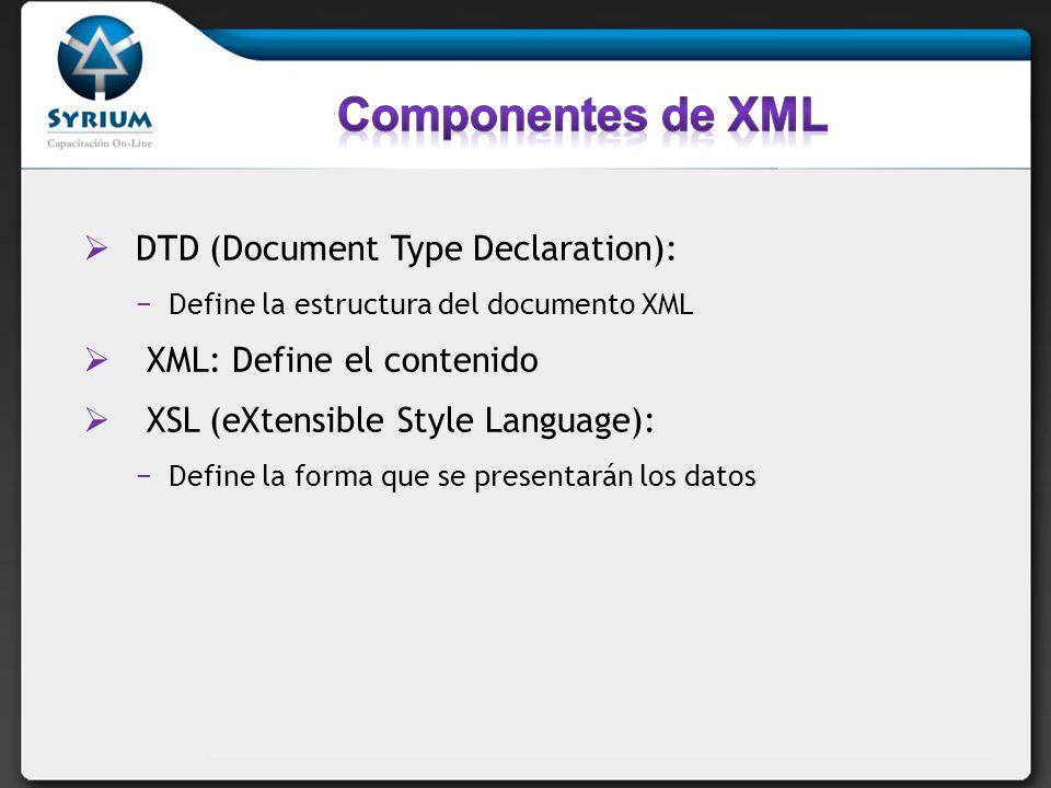 DTD (Document Type Declaration): Define la estructura del documento XML XML: Define el contenido XSL (eXtensible Style Language): Define la forma que