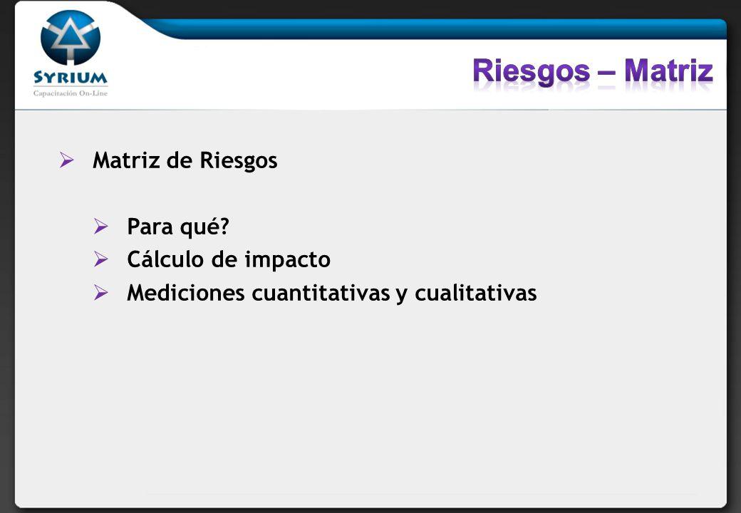 Matriz de Riesgos Para qué? Cálculo de impacto Mediciones cuantitativas y cualitativas