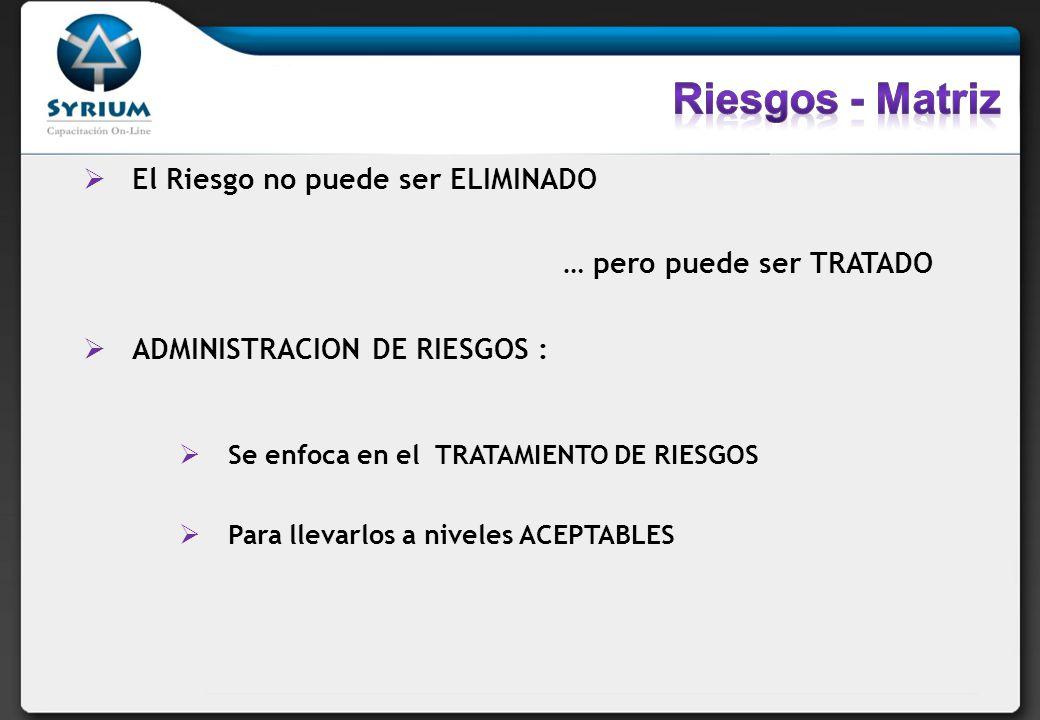 El Riesgo no puede ser ELIMINADO … pero puede ser TRATADO ADMINISTRACION DE RIESGOS : Se enfoca en el TRATAMIENTO DE RIESGOS Para llevarlos a niveles ACEPTABLES