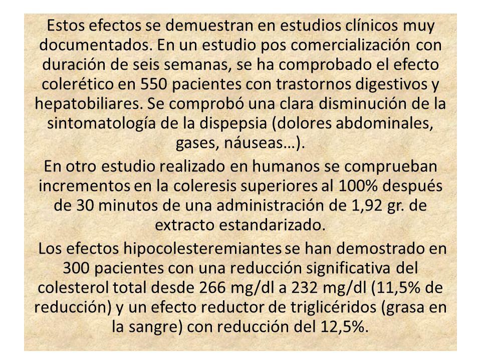 Estos efectos se demuestran en estudios clínicos muy documentados. En un estudio pos comercialización con duración de seis semanas, se ha comprobado e