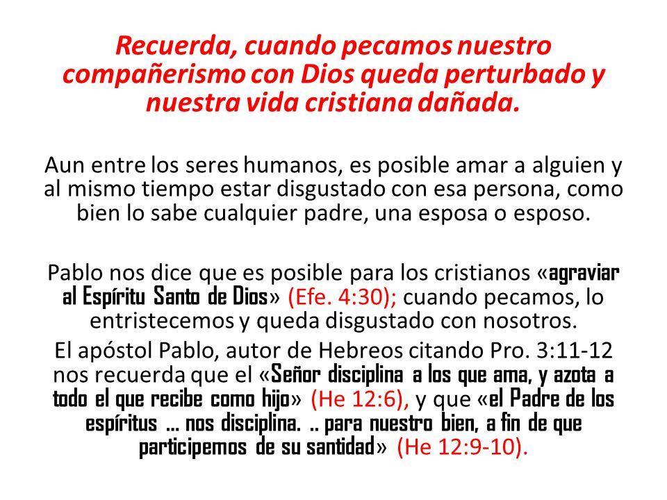 Recuerda, cuando pecamos nuestro compañerismo con Dios queda perturbado y nuestra vida cristiana dañada. Aun entre los seres humanos, es posible amar