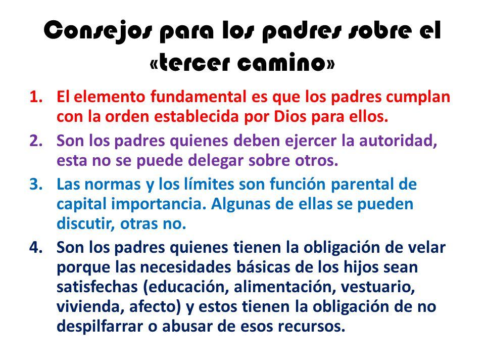 Consejos para los padres sobre el «tercer camino» 1.El elemento fundamental es que los padres cumplan con la orden establecida por Dios para ellos. 2.