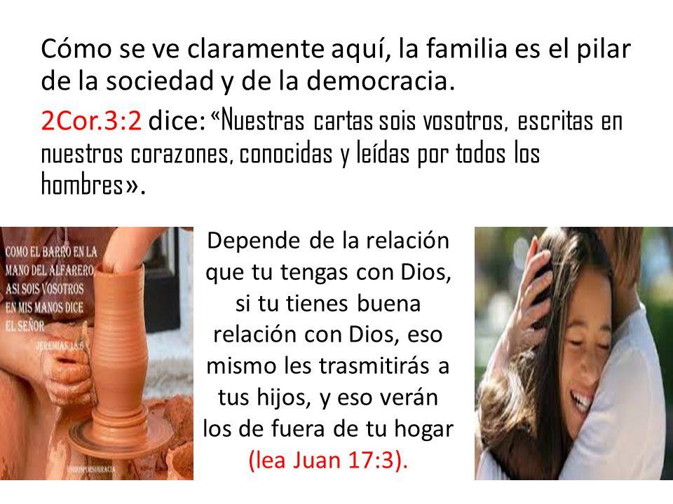 Cómo se ve claramente aquí, la familia es el pilar de la sociedad y de la democracia. 2Cor.3:2 dice: « Nuestras cartas sois vosotros, escritas en nues