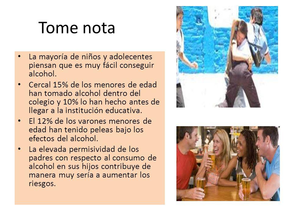 Tome nota La mayoría de niños y adolecentes piensan que es muy fácil conseguir alcohol. Cercal 15% de los menores de edad han tomado alcohol dentro de