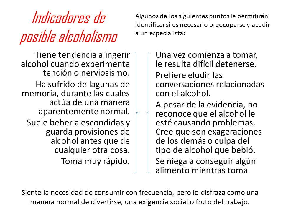 Indicadores de posible alcoholismo Tiene tendencia a ingerir alcohol cuando experimenta tención o nerviosismo. Ha sufrido de lagunas de memoria, duran