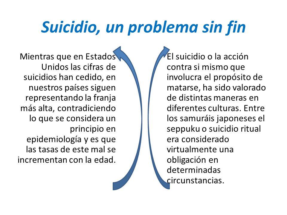 Suicidio, un problema sin fin Mientras que en Estados Unidos las cifras de suicidios han cedido, en nuestros países siguen representando la franja más