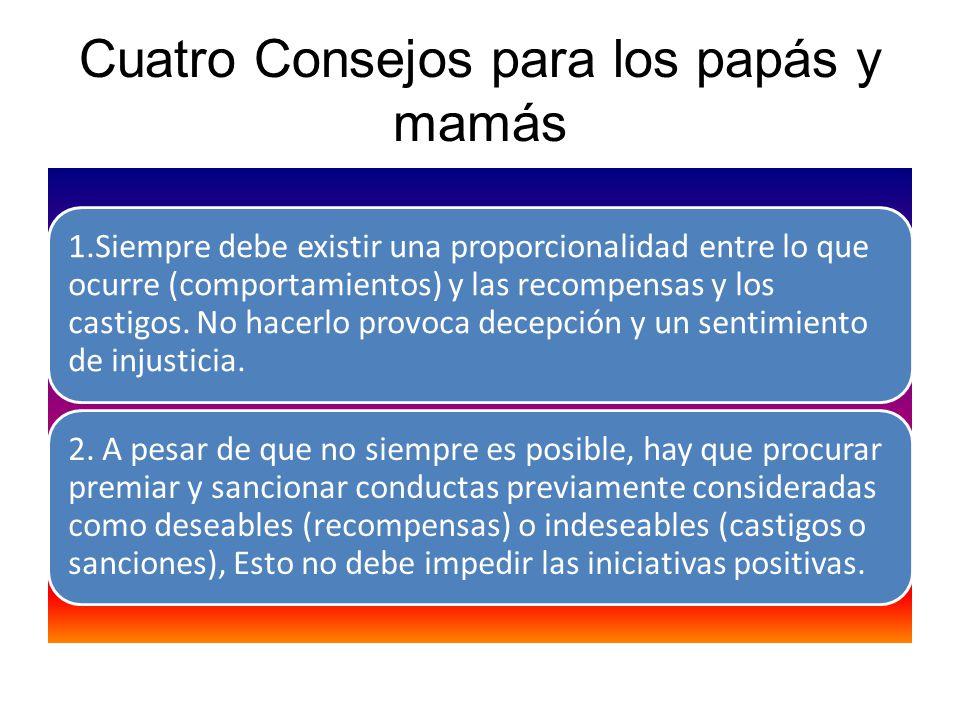 Cuatro Consejos para los papás y mamás 1.Siempre debe existir una proporcionalidad entre lo que ocurre (comportamientos) y las recompensas y los casti