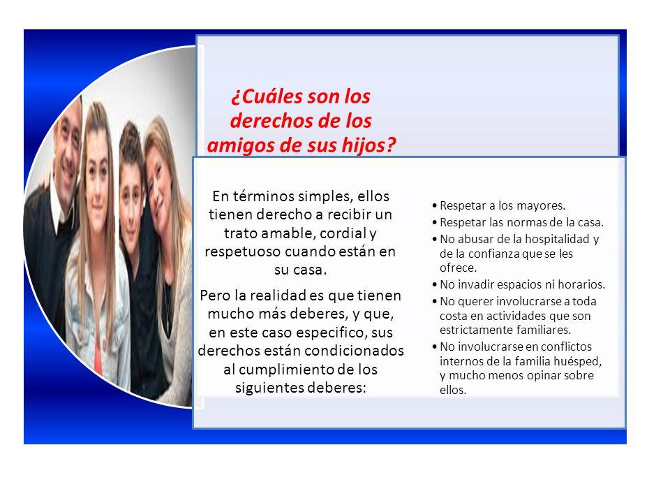 ¿Cuáles son los derechos de los amigos de sus hijos? En términos simples, ellos tienen derecho a recibir un trato amable, cordial y respetuoso cuando