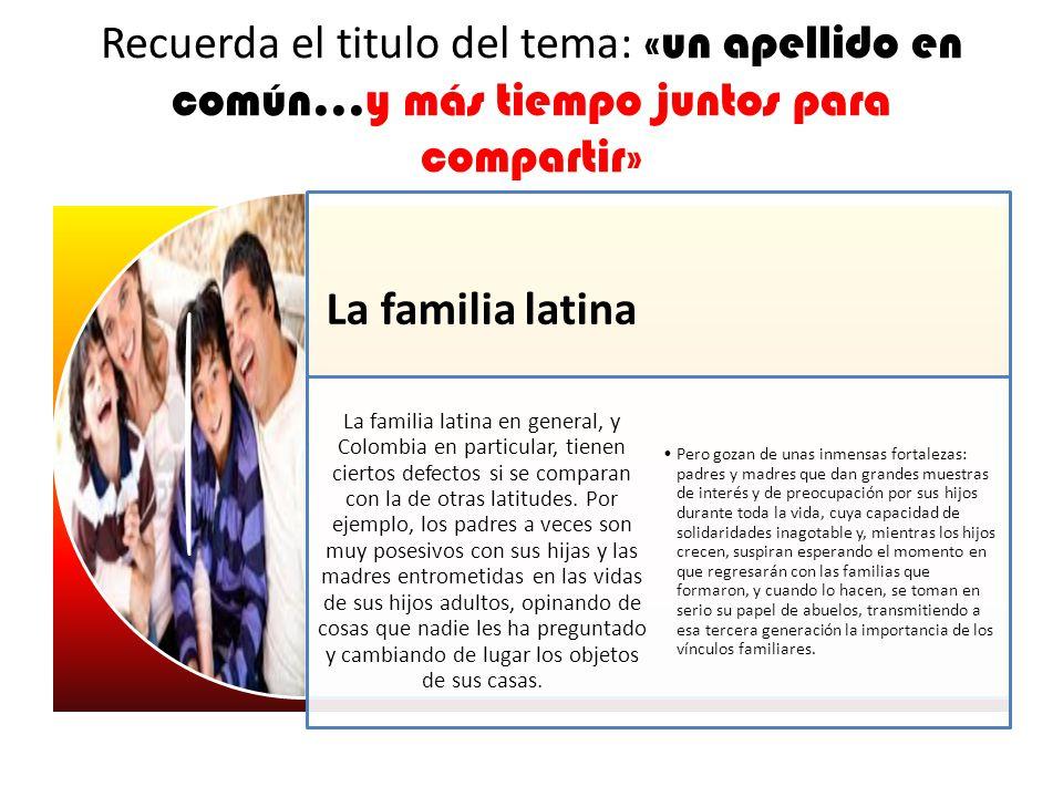 Recuerda el titulo del tema: «un apellido en común...y más tiempo juntos para compartir» La familia latina La familia latina en general, y Colombia en