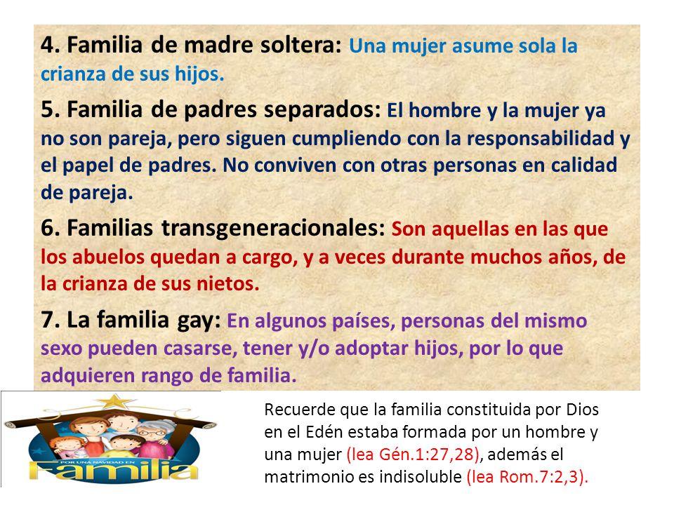 4. Familia de madre soltera: Una mujer asume sola la crianza de sus hijos. 5. Familia de padres separados: El hombre y la mujer ya no son pareja, pero