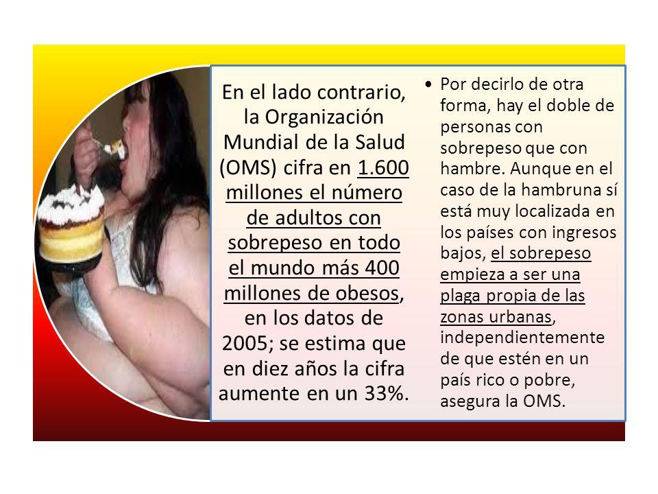 En el lado contrario, la Organización Mundial de la Salud (OMS) cifra en 1.600 millones el número de adultos con sobrepeso en todo el mundo más 400 mi