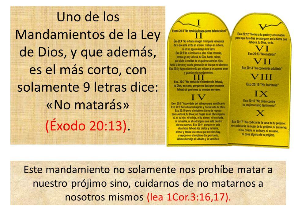 Uno de los Mandamientos de la Ley de Dios, y que además, es el más corto, con solamente 9 letras dice: «No matarás» (Éxodo 20:13). Este mandamiento no