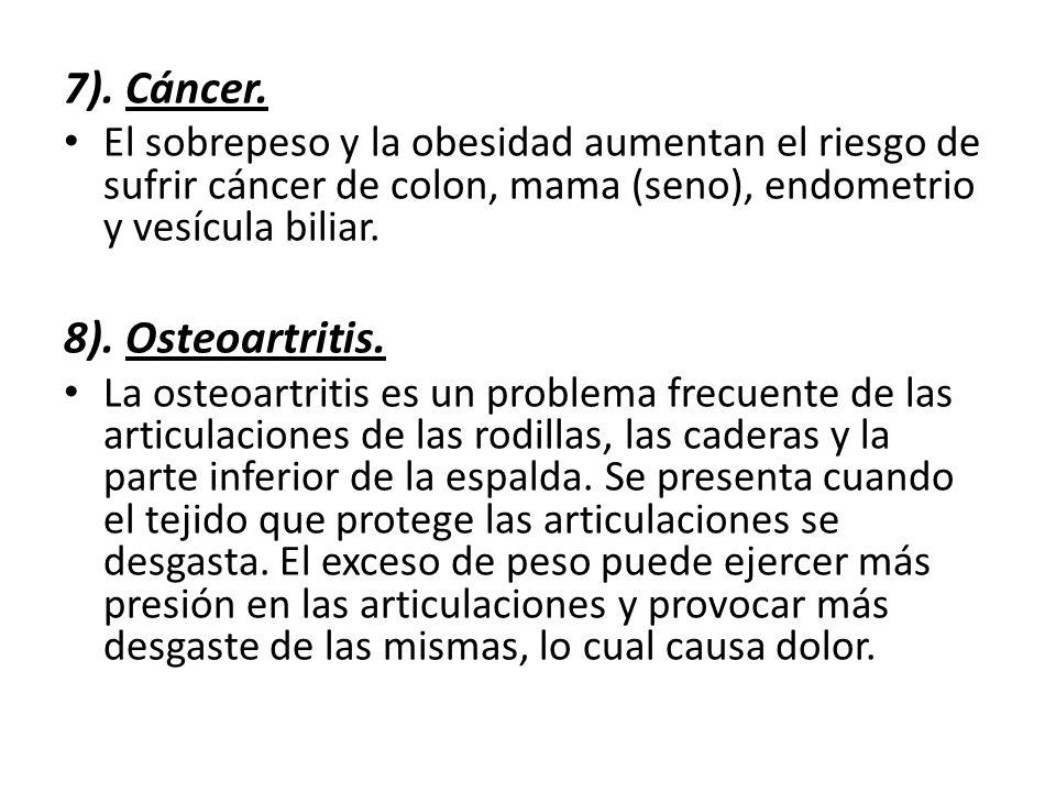 7). Cáncer. El sobrepeso y la obesidad aumentan el riesgo de sufrir cáncer de colon, mama (seno), endometrio y vesícula biliar. 8). Osteoartritis. La