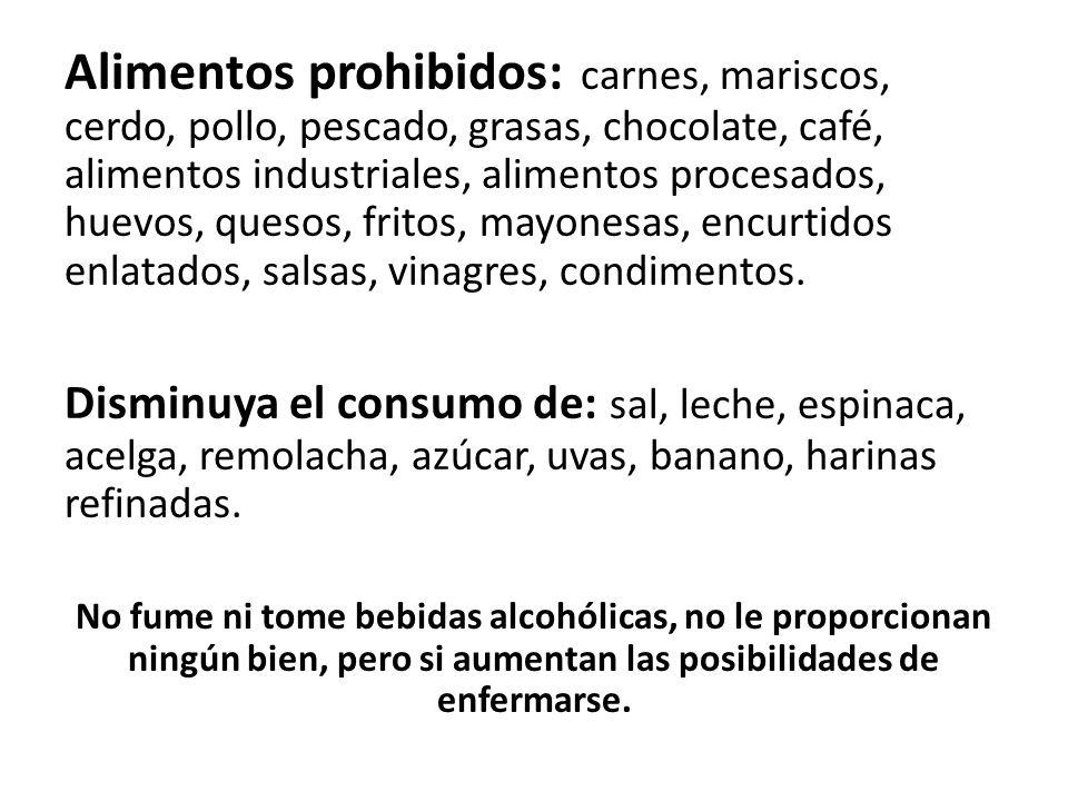 Alimentos prohibidos: carnes, mariscos, cerdo, pollo, pescado, grasas, chocolate, café, alimentos industriales, alimentos procesados, huevos, quesos,