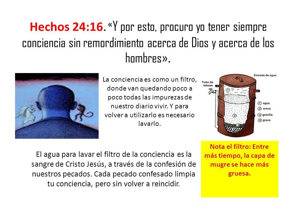 Hechos 24:16. « Y por esto, procuro yo tener siempre conciencia sin remordimiento acerca de Dios y acerca de los hombres». La conciencia es como un fi