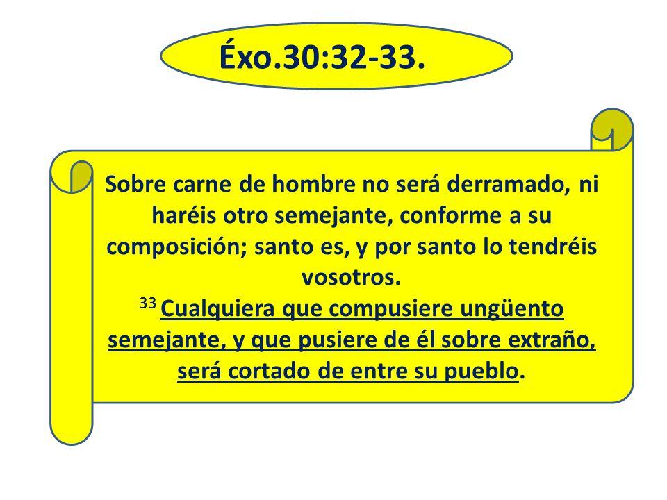 Éxo.30:32-33. Sobre carne de hombre no será derramado, ni haréis otro semejante, conforme a su composición; santo es, y por santo lo tendréis vosotros