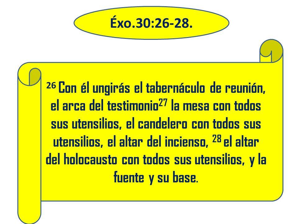 26 Con él ungirás el tabernáculo de reunión, el arca del testimonio 27 la mesa con todos sus utensilios, el candelero con todos sus utensilios, el alt