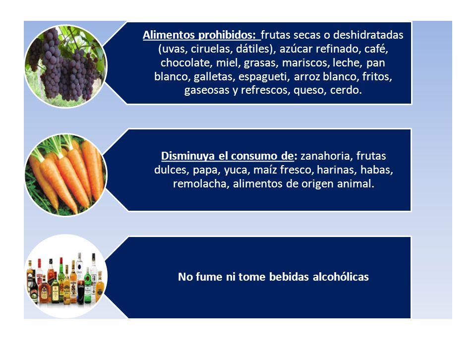 Alimentos prohibidos: frutas secas o deshidratadas (uvas, ciruelas, dátiles), azúcar refinado, café, chocolate, miel, grasas, mariscos, leche, pan bla