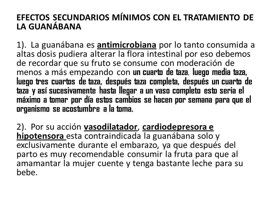 EFECTOS SECUNDARIOS MÍNIMOS CON EL TRATAMIENTO DE LA GUANÁBANA 1).