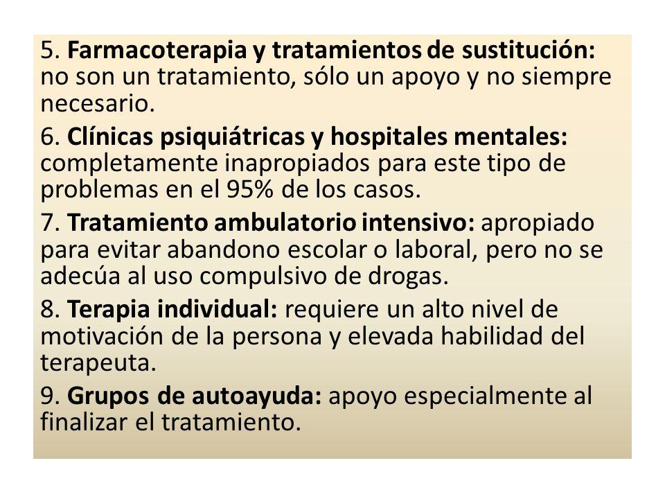 5. Farmacoterapia y tratamientos de sustitución: no son un tratamiento, sólo un apoyo y no siempre necesario. 6. Clínicas psiquiátricas y hospitales m