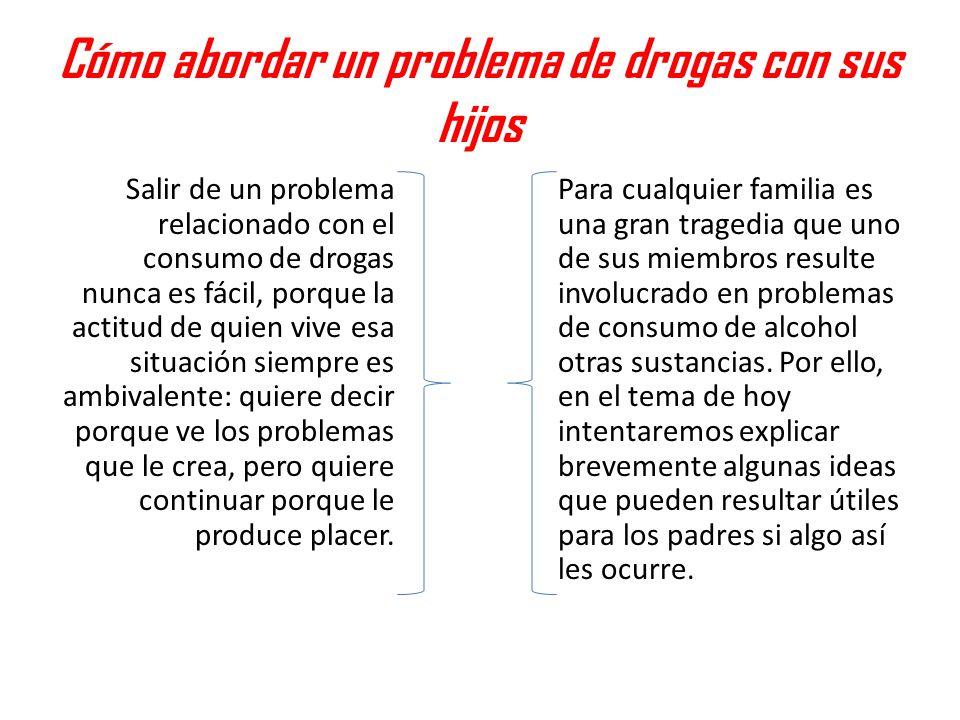 Cómo abordar un problema de drogas con sus hijos Salir de un problema relacionado con el consumo de drogas nunca es fácil, porque la actitud de quien