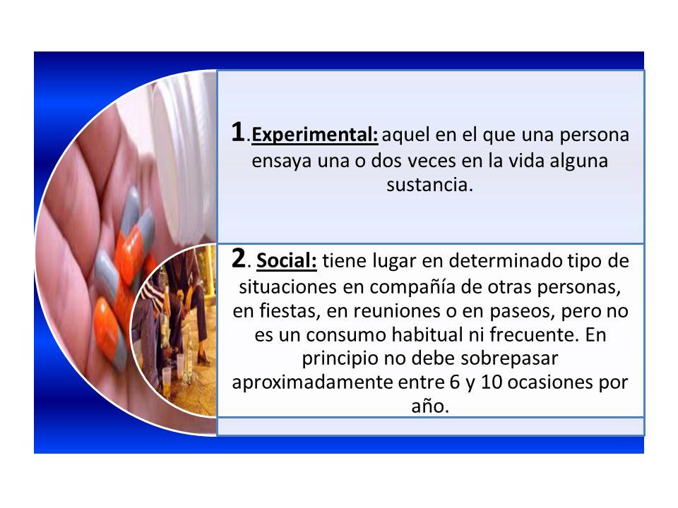 1.Experimental: aquel en el que una persona ensaya una o dos veces en la vida alguna sustancia. 2. Social: tiene lugar en determinado tipo de situacio