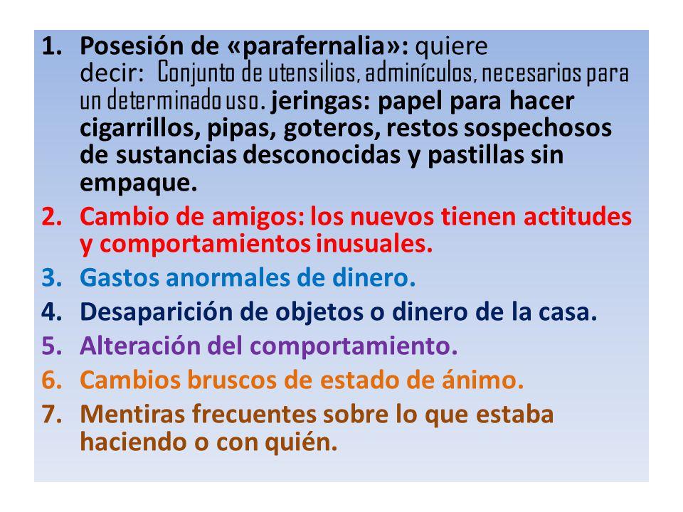 1.Posesión de «parafernalia»: quiere decir: Conjunto de utensilios, adminículos, necesarios para un determinado uso. jeringas: papel para hacer cigarr