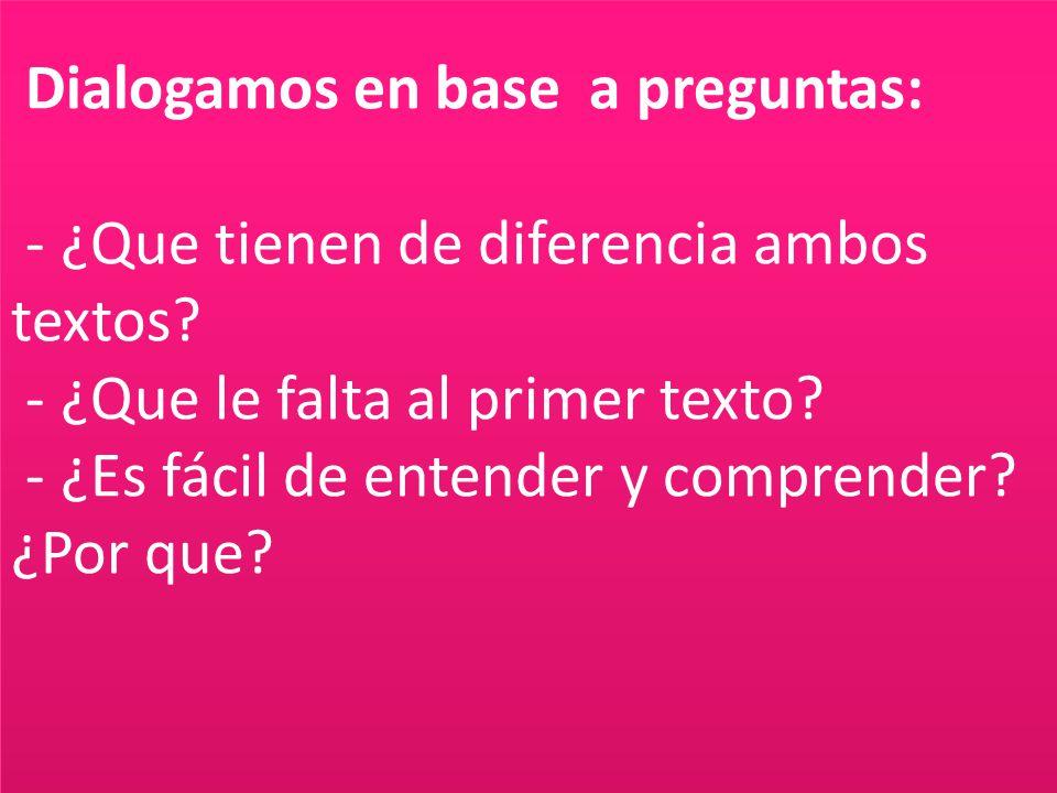 Dialogamos en base a preguntas: - ¿Que tienen de diferencia ambos textos? - ¿Que le falta al primer texto? - ¿Es fácil de entender y comprender? ¿Por