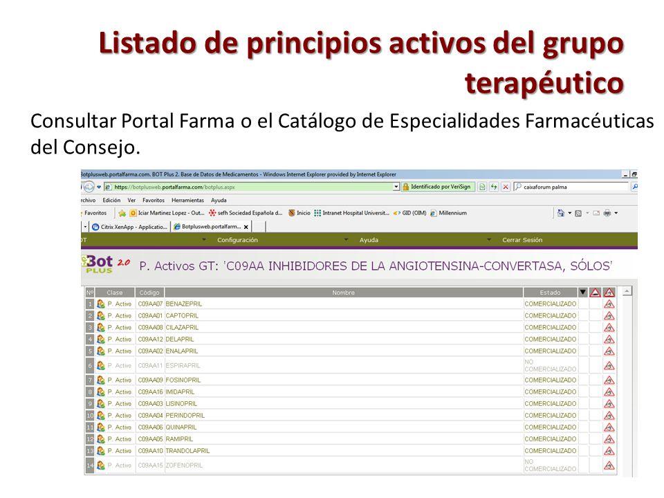 Listado de principios activos del grupo terapéutico Consultar Portal Farma o el Catálogo de Especialidades Farmacéuticas del Consejo.