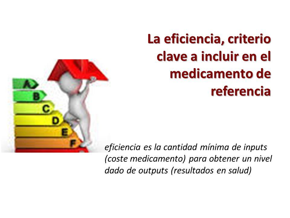 La eficiencia, criterio clave a incluir en el medicamento de referencia eficiencia es la cantidad mínima de inputs (coste medicamento) para obtener un