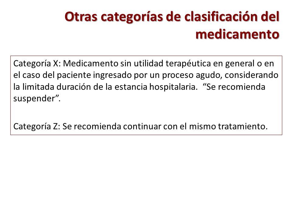 Categoría X: Medicamento sin utilidad terapéutica en general o en el caso del paciente ingresado por un proceso agudo, considerando la limitada duraci