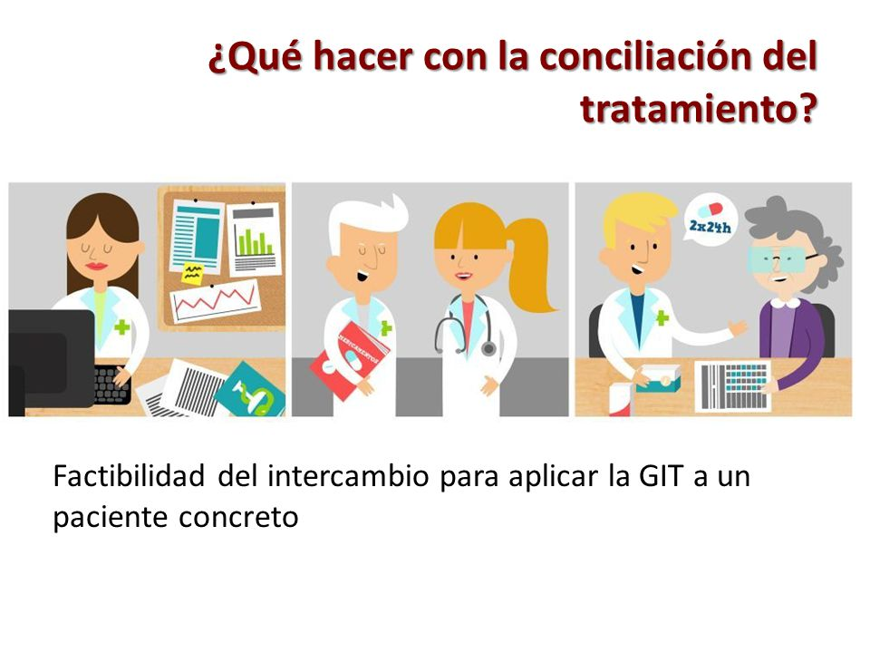 ¿Qué hacer con la conciliación del tratamiento? Factibilidad del intercambio para aplicar la GIT a un paciente concreto